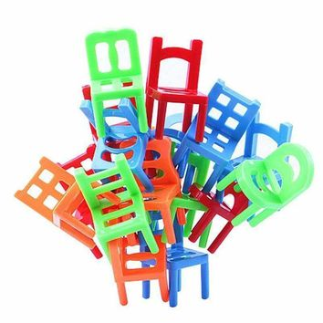 18pcs/Set Plastic Educational Toy Balance Stacking Chairs for Kids play at desktop really good family Game