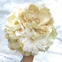 Wedding Bouquet, Fabric Flower Bouquet, Bridesmaid Bouquet, Gold, Neutral, Beige, Ivory, Cream, Vintage, shabby Chic, Rustic, Golden