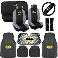 Warner Brothers Batman Seat Cover, Rubber Floor Mat for Car - Universal Fit Auto Accessories Full Set