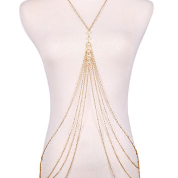 Golden Faux Pearl Detail Layered Body Chain