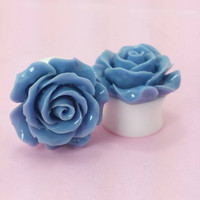 "SALE (20% OFF!) Buy 2 Pairs/get 3rd FREE! Large Navy Blue Flower Rose Plugs/Gauges 3/4"" 7/8"" 1"" 1 1/16"" 1 1/8"""