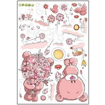 Pink Cartoon Cat Rabbit Flower Wall Sticker For Baby Kids girl's Room Home Decor Teddy Bear Umbrella Classroom Wall Decals