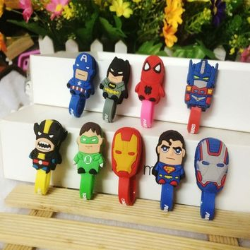 NEW 100pcs Avengers Marvel Superman Batman Headphone Winder Earphone Cord Wrap Organizer Wire Holder Home Office Storage Clips