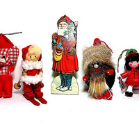 Vintage Chrismtas Ornaments Eclectic Collection 5 1960s 1980s Holiday Home Decor