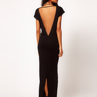 Black Open-Back Maxi Dress With Slit