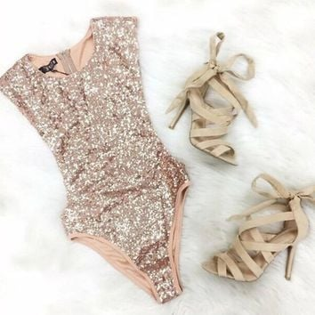 Women's European sequined triangle Body Suit  gold sequins - Free Shipping