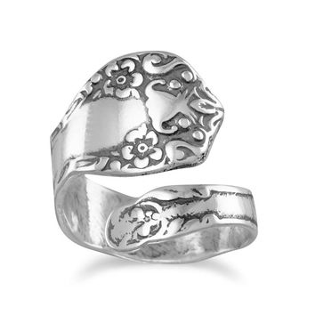 Spoon Ring Adjustable Size 6-11 oxidized 925 sterling silver floral design spoon ring