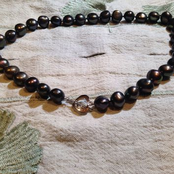 Vintage Black Baroque Freshwater Pearl Necklace/Choker
