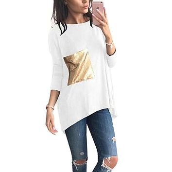 nice breif t shirts women s asymmetric o neck long bottoming tunic t shirts with sequined tshirts top plus size tee top lx101