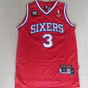 Nba Philadelphia 76ers #3 Allen Iverson 10 Anni Swingman Red Jersey S Xxl | Best Deal Online