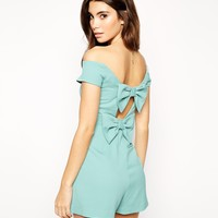 ASOS Playsuit in Bardot in Bow Back Detail