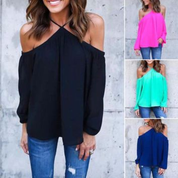 Women Summer Loose Casual Chiffon Off Shoulder Shirt Tops Blouse Ladies Top S-XL