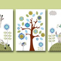 "Art for Children , Kids Wall Art, Baby Room Decor, Nursery print,set of 3 11"" x 14"" Print,flowers,green,tree,giraffe,collage,blue,elephant"