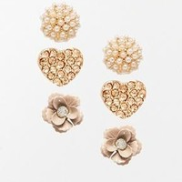 River Island | River Island Flower And Heart Three Pack Stud Earrings at ASOS