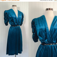 25% OFF peacock blue vintage 1970s velour velvet plunging bust pinup retro disco midi dress // coffin pleat sleeves // size L