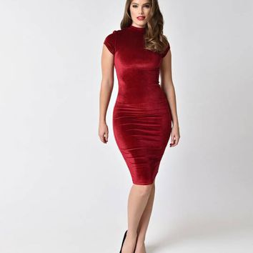 Unique Vintage 1960s Raspberry Red Velvet Holly Wiggle Dress