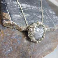 Sterling silver wire wrapped mini pendant with agate