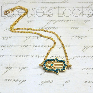 Gold Hamsa Necklace. Gifts for her.