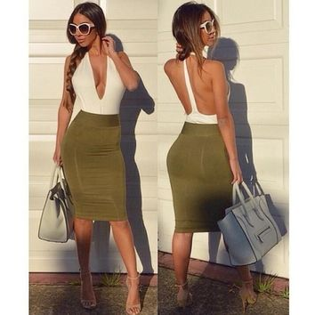 Deep V-neck Women Backless Bandage Bodycon Evening Party Club Mini Dress  A_L CB037084 = 5613022465