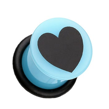 Adorable Heart Acrylic Single Flared Ear Gauge Plug