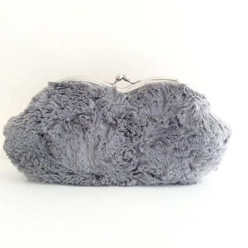 Sunglasses case Eyeglasses Case Clutch Purse - Gray Fur