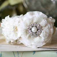 Bridesmaid Jewelry - Floral Cuff Bracelet with Pearls, Rhinestone and Vintage Buttons