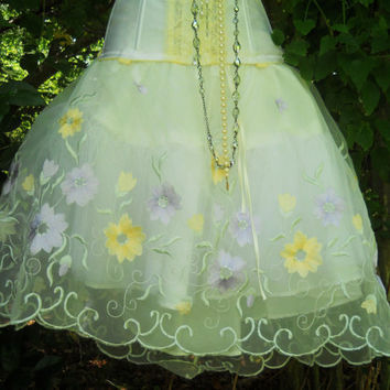 Floral tutu skirt tulle embroidery fairytale by vintageopulence