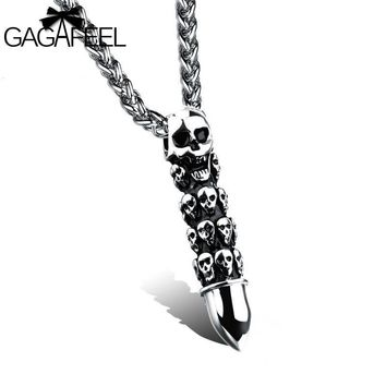 Men s Necklace Skeleton Ghost Stainless Steel Pendant Necklaces Skull  Jewelry Punk Style 98d41fe48914