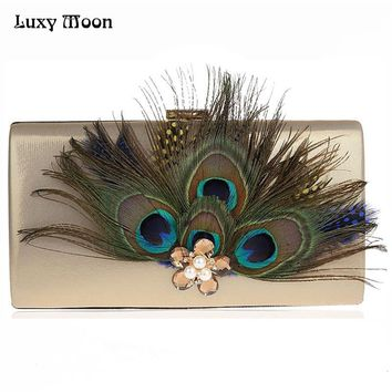 2017 Peacock feather Clutch Bag Luxury Pearl Evening Bags Fashion Wallet Diamond Party Purse Wedding Bridal Handbags ZD631