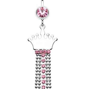 Princess Crown Jeweled Belly Button Ring