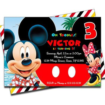 Mickey Mouse Pool Birthday Party Invitations