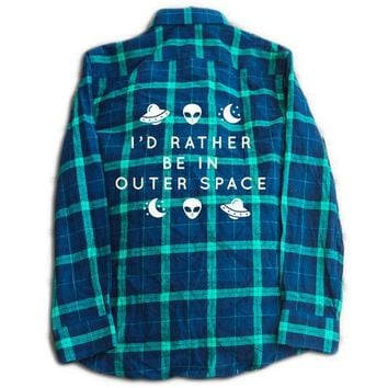Rather Be In Outer Space Flannel- Blue