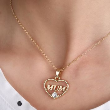 2017 Fashion 2 Colors Mother's Day Love Gift Mom Letter Heart Rhinestone Pendent Necklace Personalized Jewelry for Mom