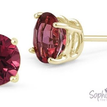 Ruby Stud Earrings in 10k Yellow Gold
