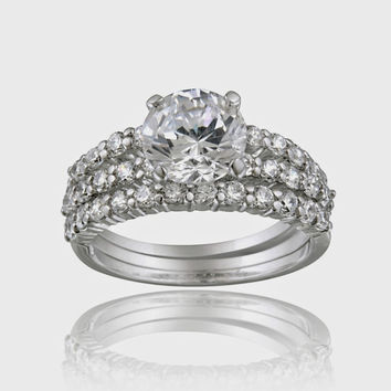 Sterling Silver Round CZ Bridal Engagement Stackable Ring Set Size 6