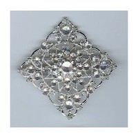 """Diamond Shaped Brooch with Silver Nickel Finish and Clear Stones (2.25"""" Diameter)"""