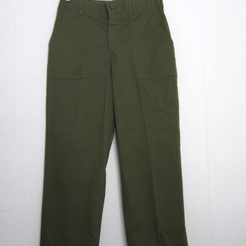 "Vintage 70s  US Military Army Air force Utility Green Fatigue Trousers Pants Short 29"" x 28"""