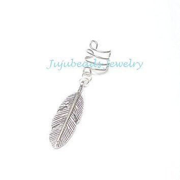 NO PIERCING REQUIRED Silver Feather Ear Cuff by jujubee4 on Etsy