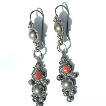 Vintage Tribal Jewelry Berber Sterling Silver Red coral teardrop earrings