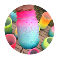 Neon Pink Ombre Galaxy Mason Jar  Hand Painted  Super by LimbTrim