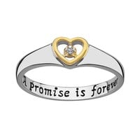 Sweet Sentiments Gold Over Silver & Sterling Silver Diamond Accent Heart Ring (Grey)