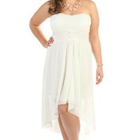 plus size strapless sweetheart lace chiffon high low party dress - debshops.com
