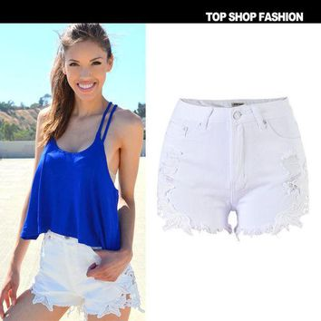 CREYUG3 Sexy Women Girl Summer High Waist Ripped Hole Wash Denim Jeans Shorts Pants = 4721855044