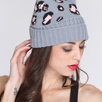 Grey Multi Animal Print Top Ear Beanie Hat