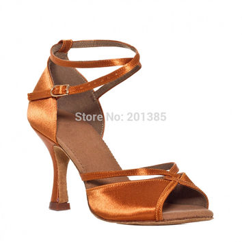 New Women Tan Satin Dance Shoes Latin Ballroom Shoes Salsa Dance Dancing Shoes Tango Shoes all size