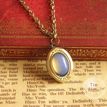 antique bronze opal locket necklace