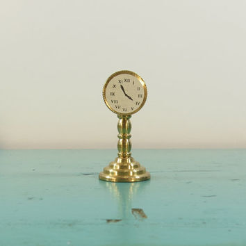 Brass Miniature Anniversary Clock Holland Vintage Dollhouse