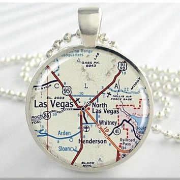 Vintage Las Vegas Map Pendant close to your heart * FREE SHIPPING