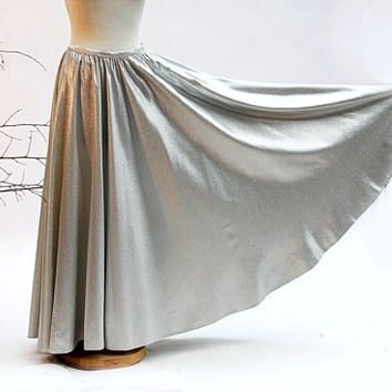 Sparkling Romance! Fancy Long Circle Skirt of Silver Lurex