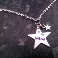 Aluminium star hand- stamped. / necklace/ key ring